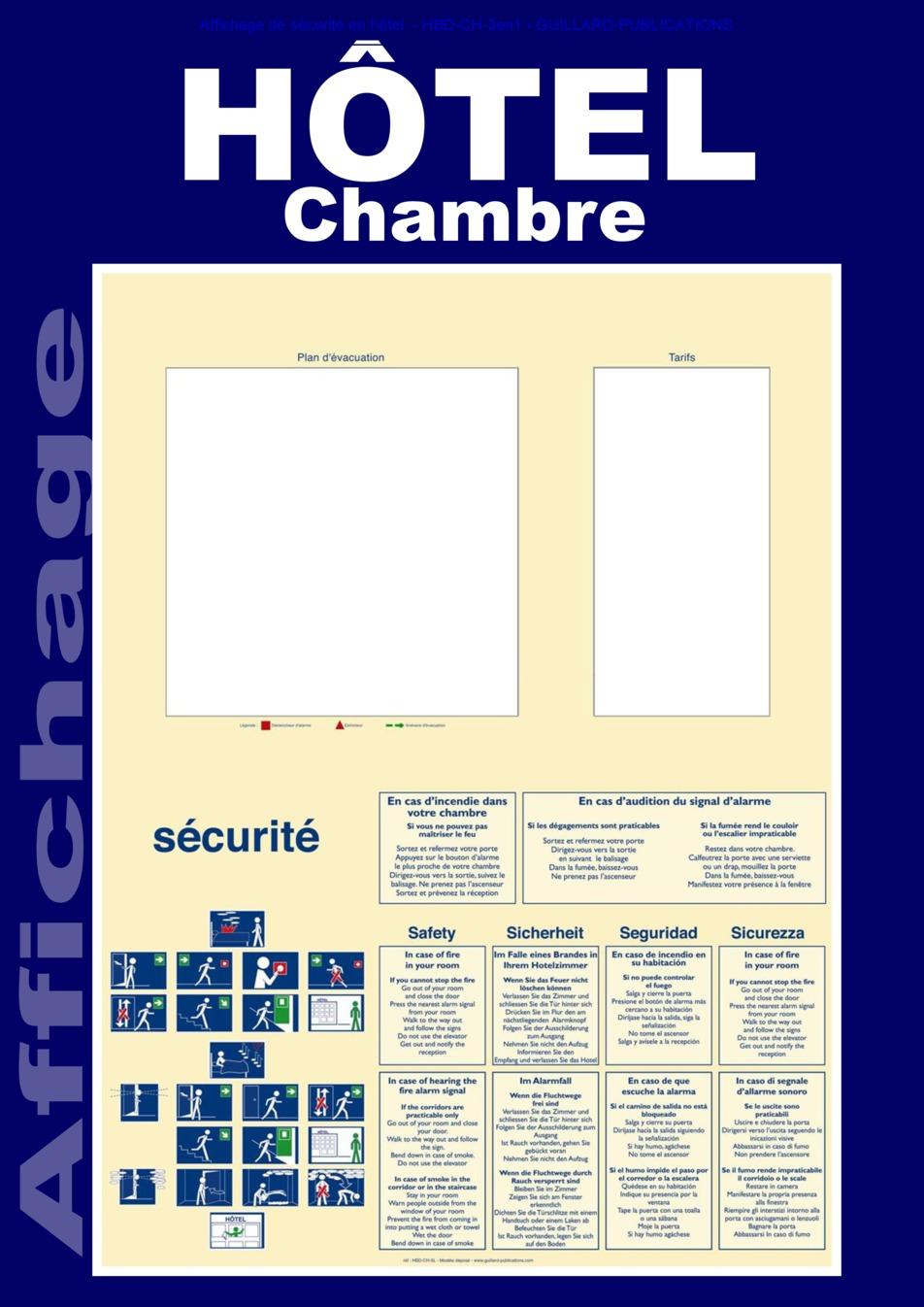 Affichage de securite hotel chambre 3en1 source www for Chambre de la securite